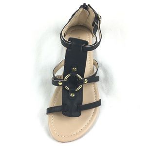 Gladiator sandal with zipper back closure Black